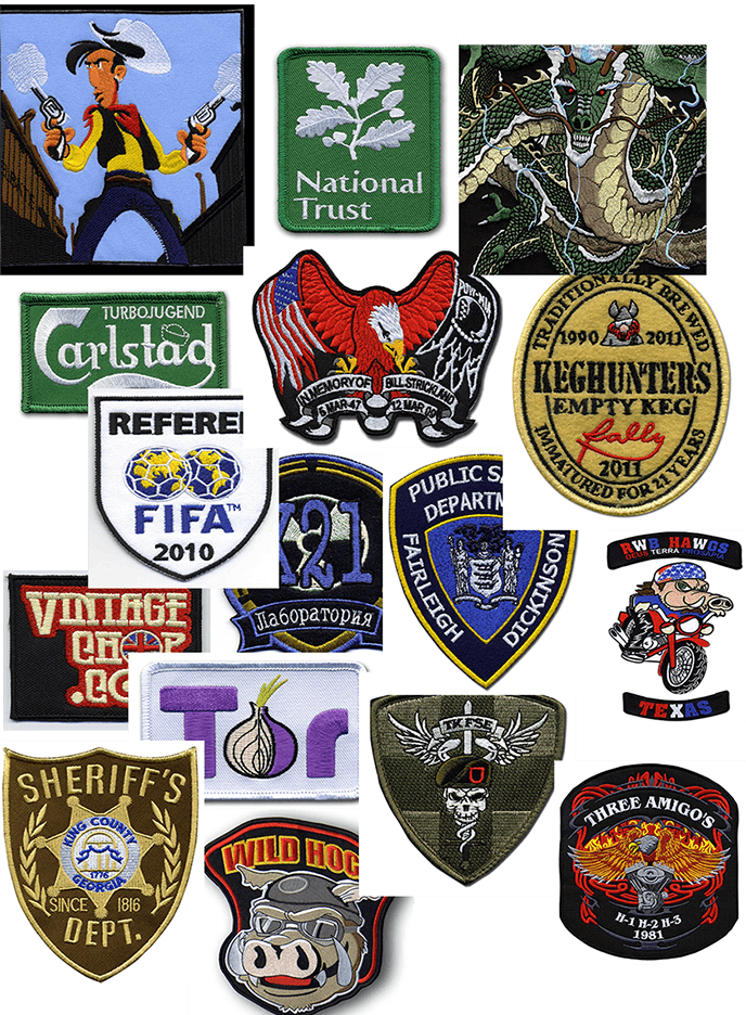 some samples of embroidered patches made by our company